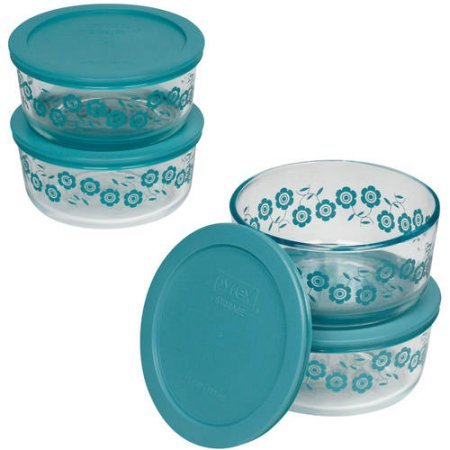 Pyrex 4-Cup Round Microwave Safe Storage Container Set with Plastic Covers, Set of 4, Bondi (Pyrex Small Containers With Lids)
