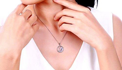 vormor Collier avec pendentif rond en argent sterling 925avec Améthyste naturel en argent 925chaîne en argent sterling