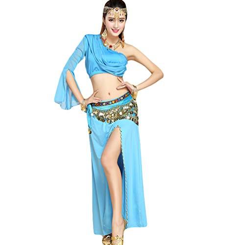 Fente Irrgulier Costume Ventre Une Longue Unie Couleur de Femme TianBin Jupe du Bleu 3 Haute Danse Lac Tops paule 7Oqzn4