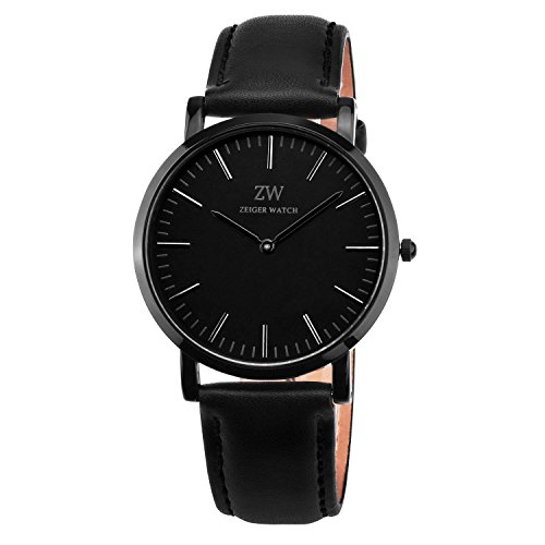 Zeiger-New-Mens-Women-Fashion-Casual-Business-Black-Dial-Analog-Quartz-Watch-with-Leather-Band-Men-Analog-Digital-Watch-Black-Stainless-Steel