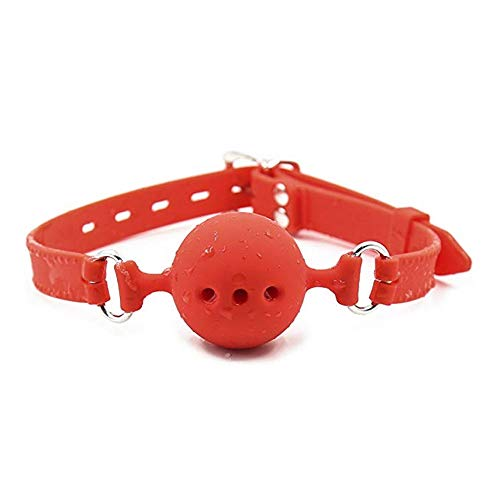 LIUHUAF Silicone Mouth Ball with Jacquard Ribbon Men Woman Leather Paly Buckle Belt Ball Gag (All red)