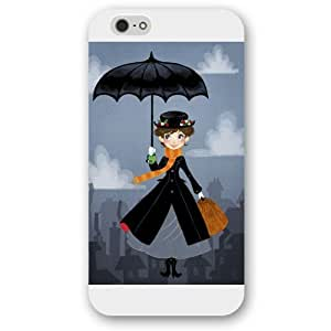"""Customized White Hard Plastic Disney Cartoon Mary Poppins iPhone 6 4.7 Case, Only fit iPhone 6 4.7"""""""