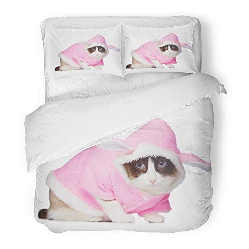 Emvency 3 Piece Duvet Cover Set Brushed Microfiber Fabric Halloween Cat in Pink Rabbit Costume White Accessory Animal Bunny Cute Domestic Breathable Bedding Set with 2 Pillow Covers King Size ()