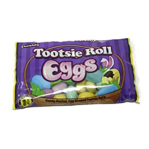 Easter Candy Tootsie Roll Eggs Candy Coated Egg Shaped Tootsie Rolls, 8 oz Bag