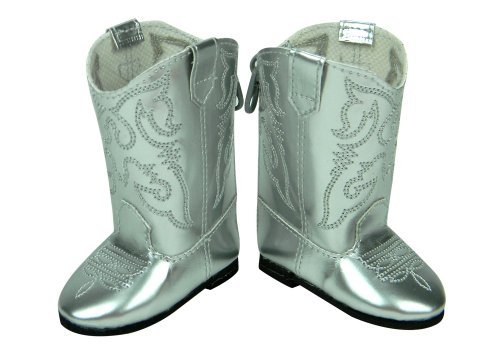 Doll Cowgirl Boots in Silver, 18 Inch Doll Shoes Fits 18 Inch American Girl, Shiny Silver Cowgirl Doll Boots