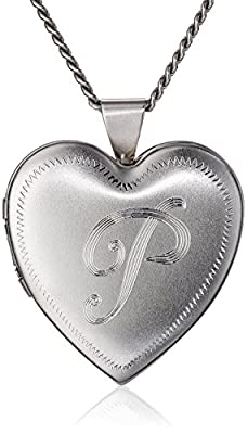 "Rhodium 26mm (1"") Personalized with Initial Heart Chain Locket Necklace, 24"""