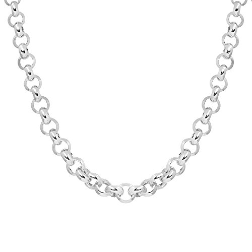 Silverly Women's .925 Sterling Silver Polished Belcher Rolo 6 mm Chain Toggle Bar Necklace, 46 cm ()