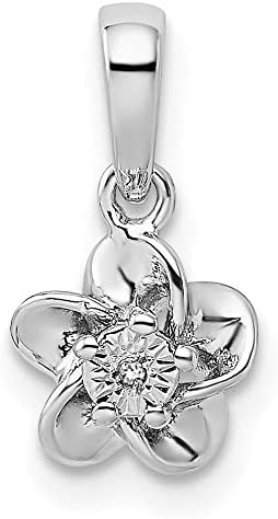 Sterling Silver Rhodium-plated Floral Diamond Pendant