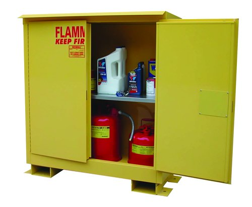 (SECURALL A360WP1 Weatherproof, Flammable Storage Cabinet, 2-Door, 12-5 Gal. Cap, Self-Close, Self-Latch Safe-T Door, 67 x 31 x 31 in, FM Approved, SMaRT Cert, OSHA Comp, 15 YR Warranty - Yellow)