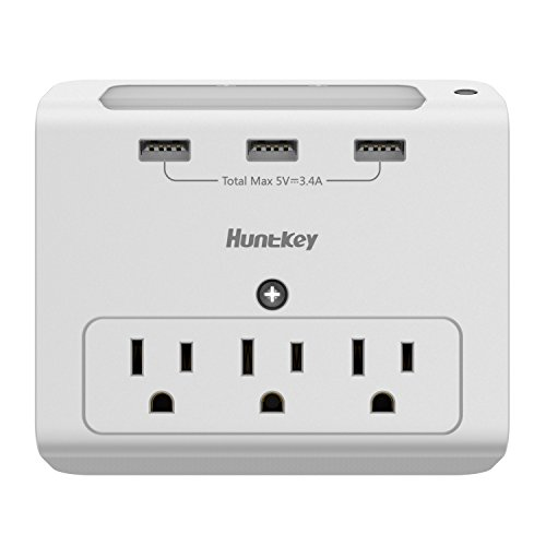 Huntkey Wall Mount 3-Outlets with 3 USB (3.4A) Ports, Auto Sensor Night-Light (SMD307) by Huntkey