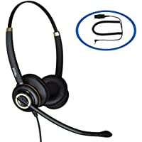 Discover D712 Binaural 2.5mm Headset With Noise Canceling Mic For Cordless Phones, Grandstream, Polycom, Cisco, Linksys and Panasonic
