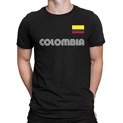 (SpiritForged Apparel Colombia Soccer Jersey Men's T-Shirt, Black 3XL )