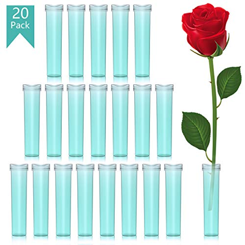 Floral Water Tubes 20pcs Rose Flower Picks Tubes Milkweed Cuttings Vials Clear Green Plastic Tubes for Flower Arrangements Craft Supply Eco Friendly - 2.85
