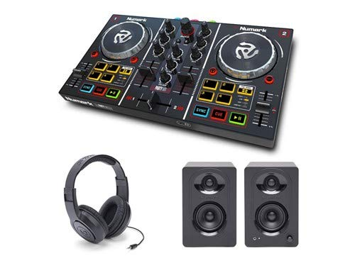 Numark Party Mix DJ Controller with Monitors and Headphones