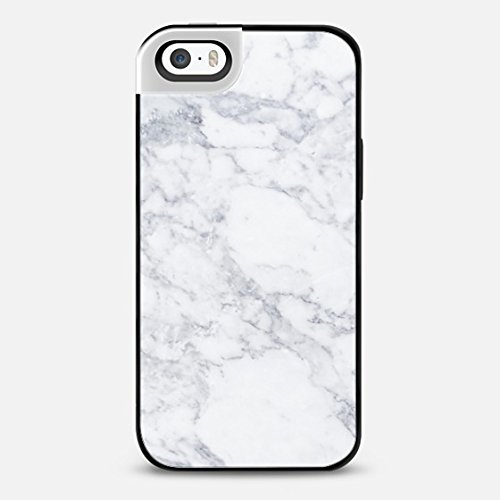 Casetify Marble white - iPhone 5s Metaluxe - Shinny Silver & Black