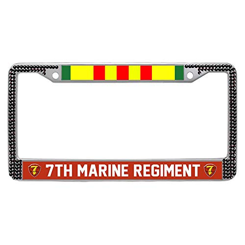 (7th Marine Regiment Vietnam Veteran License Plate Frame Holder, US Military Stainless Steel Metal Car License Tag Holder, Black Crystal)
