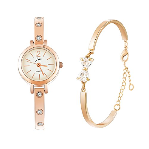 Analog Set Bracelet - Souarts Womens Gold Color Rhinestone Bracelet Quartz Analog Wrist Watch Set 19cm