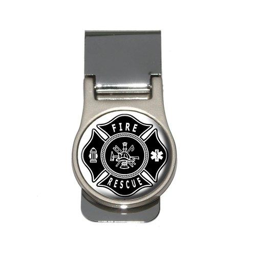 Firefighter Firemen Maltese Cross - Black Money Clip