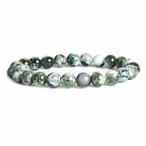 - Natural Tree Agate Gemstone 8mm Round Beads Stretch Bracelet 7