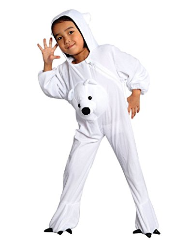 Polar Bear Mascot (Fantasy World Polar Bear Halloween Costume f. Children/Boys/Girls, Size: 4t, J45)