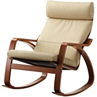 Ikea Poang Rocking Chair Medium Brown with Robust Off-white Leather Cushion