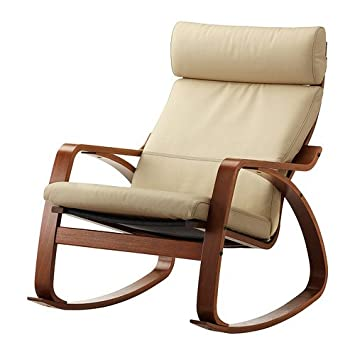 Super Ikea Poang Rocking Chair Medium Brown With Robust Off White Leather Cushion Gmtry Best Dining Table And Chair Ideas Images Gmtryco