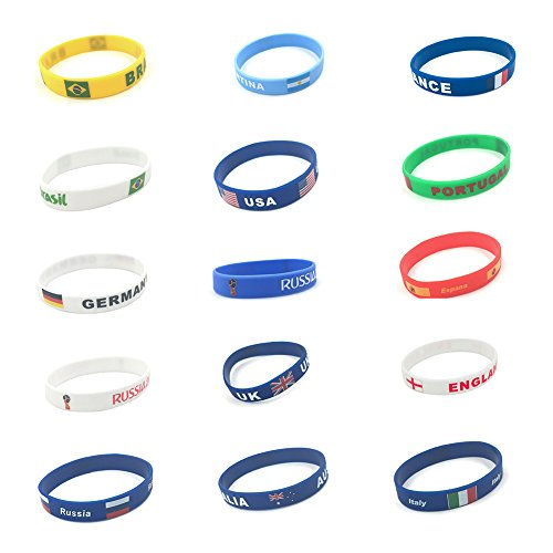 (Fulol World Cup Flag Silicone Bracelet, 2018 Russian World Cup Sports, Flags Wristband 14 Countries Available for Soccer Football Fans Unisex Design Soft and Durable Wristbands)