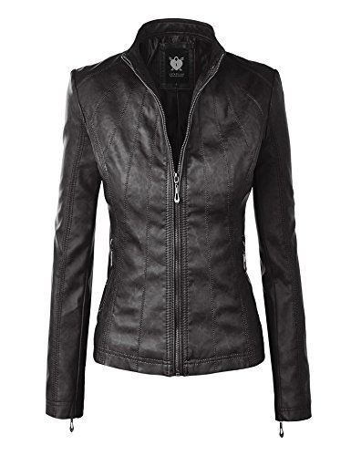 WJC877 Womens Panelled Faux Leather Moto Jacket L BLACK