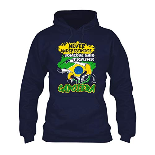 Zira Frog Trains Capoiera Hooded Sweatshirt, Long Sleeve Hoodie Navy,M ()