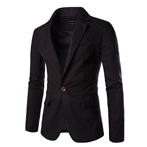 Pishon Men's Linen Blazer Lightweight Casual Solid One Button Slim Fit Sport Coat, Black, Tag Size XL=US Size ()