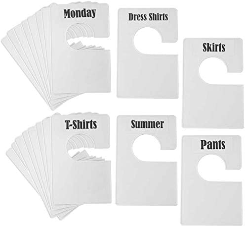 TraGoods 20 Pack White Clothing Rack Size Dividers Plus 60 Labels (1 Inch) and 40 Large Blank Labels Large Rectangular Clothing Closet Dividers (Pearl White)