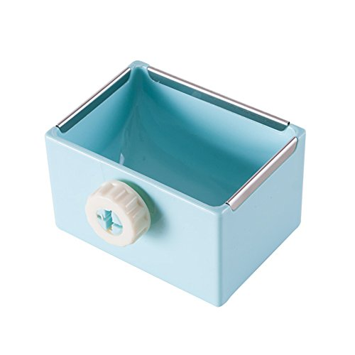 - ZOOPOLR Cage Feeder Food & Water Hay Bowl Dish Bin Feeder, Small Animal Supplies for Rabbit Guinea Pig Chinchilla Hamster Ferret (Blue)