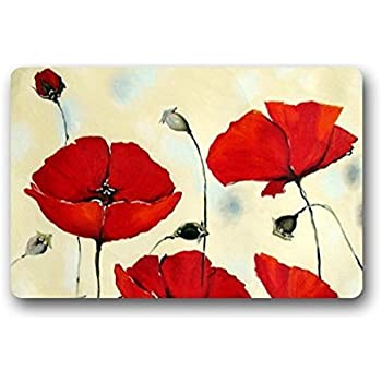 Amazon fashion decorative door mat rug vintage poppy flower art shirleys door mats non slip rectangle poppy flowers painting design door and outdoor entrance doormat mightylinksfo Image collections