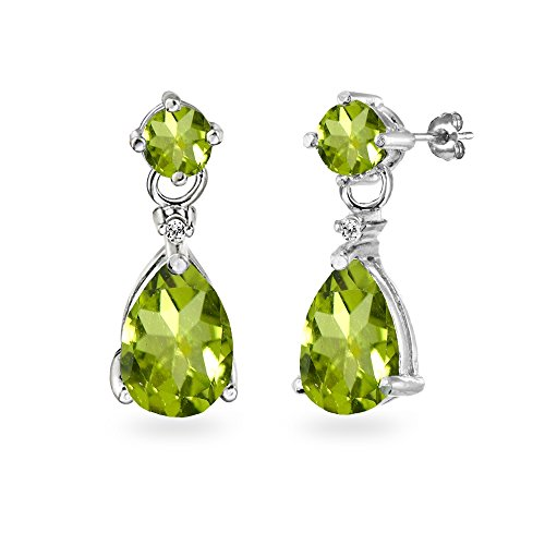 Pear Peridot Bracelet - Sterling Silver Peridot Teardrop Dangle Earrings