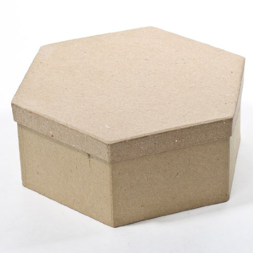 Factory Direct Craft Hexagon Paper Mache Boxes with Lids - Package of 4 Boxes (Paper Mache Hexagon Box)