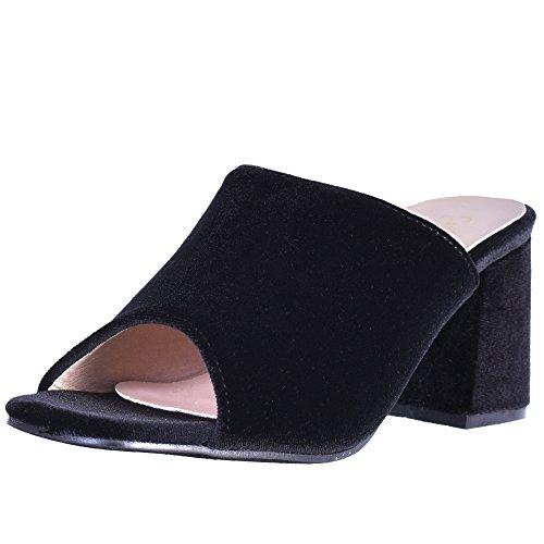 Catherine Malandrino Women\\\'s Block Heel Velvet Slide Sandals, Black Velvet, Size 7.5 B(M) US\'' (Mules Black Sandals)