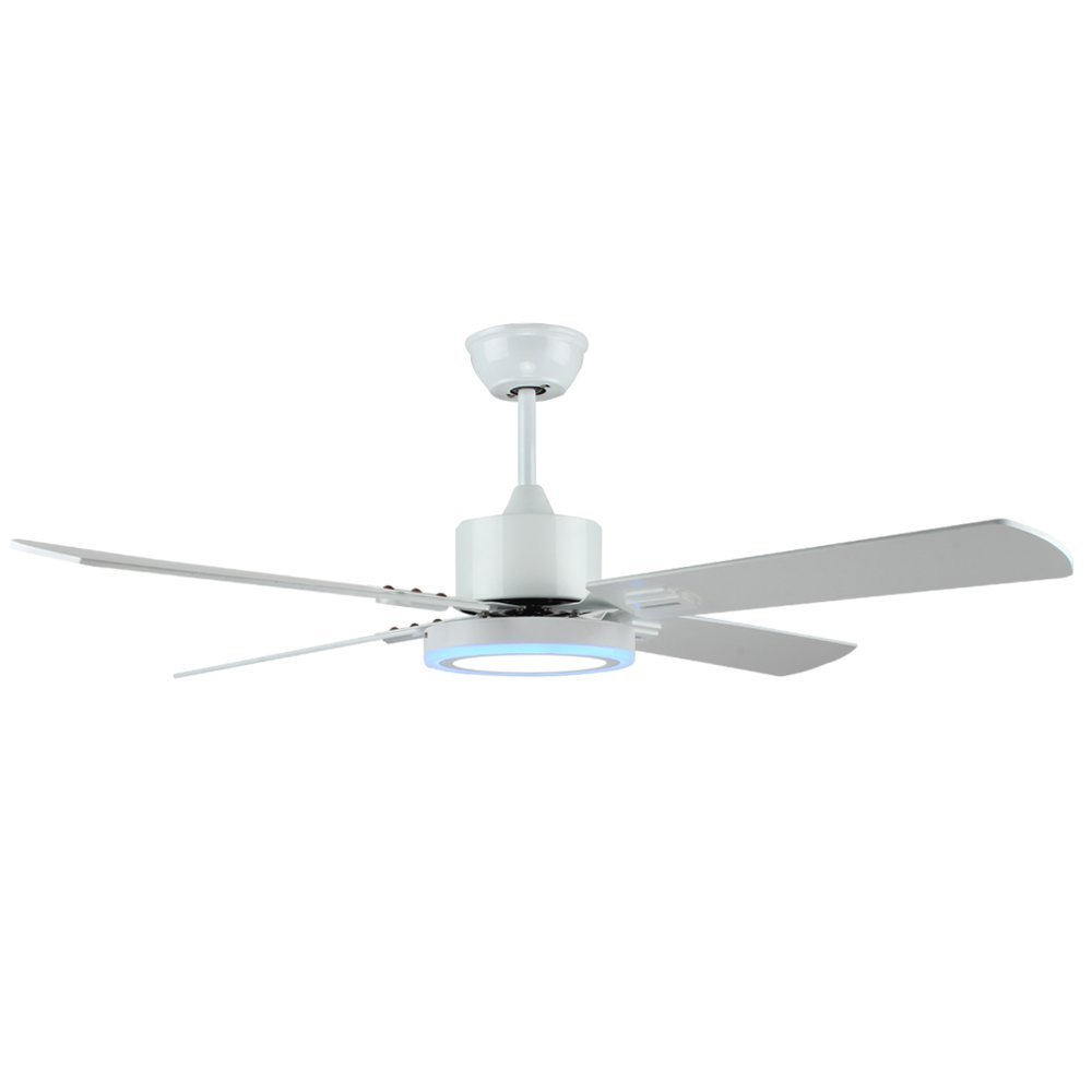 Tropicalfan White LED Silent Ceiling Fan With 5 Wood Blade 52 Inch