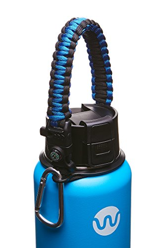 (WaterFit Paracord Carrier Strap Cord with Safety Ring and Carabiner for 12-Ounce to 64-Ounce Wide Mouth Water Bottles, DarkBlue/Compass+FireStarter)