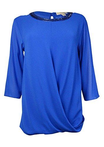 Michael Michael Kors Women's Embellished Draped Front Blouse (S, Amalfi Blue) ()