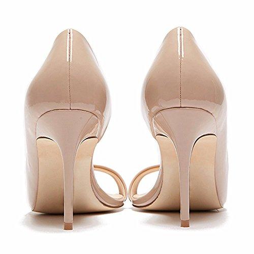 aaca2a0ce44ade ... EDEFS Damen Peep Toe Pumps Offene High Heels Lack Stilettos Schuhe Beige