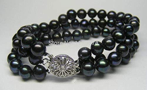 Gabcus Among The 3 Rows 7-8MM Black All-Match Girl Akoya Cultured Pearl Bracelet 7.5