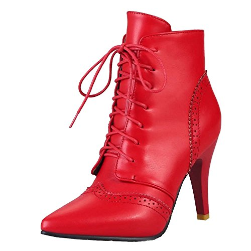 Smilice Women Boots With Kitten Heel and Pointed Toe Lace Up Ankle Boots With 3-Colors and Plus Size Avaialble Red
