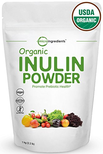 Organic Inulin FOS Powder (Jerusalem Artichoke), 1 Kg (2.2 Pounds), Prebiotic Intestinal Support, Colon & Gut Health, Natural Fiber for Smoothie and Drinks, Non-GMO and Vegan - Natural Reguloid
