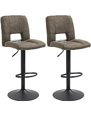 HOMCOM Modern Bar stool Armless Adjustable Height with Swivel Seat, Set of 2