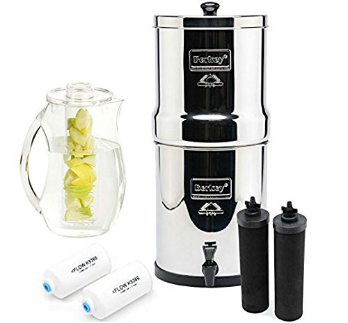 Berkey BK4X2-BB Big Berkey Stainless Steel Water Filtration System- 2 Black Filter Elements and 2 Pf2 with 92 oz. Infuser pitcher (Water Filtration Systems Survival compare prices)