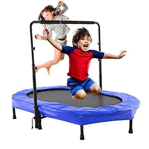 Binxin Mini Rebounder Trampoline Indoor Outdoor with Adjustable Handle for Two Kids, Parent-Child Twins Trampolines US Stock