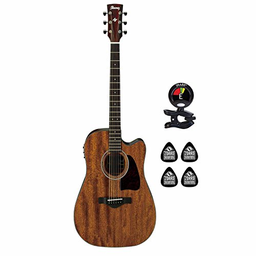 Ibanez AW54CE-OPN 6 String Acoustic Electric Guitar with Solid Mahogany top and Ibanez AEQ-SP2 preamp w/Onboard Tuner (Bundle) Clip on Guitar Tuner and 4 Zorro Sounds Guitar Picks - Open ()