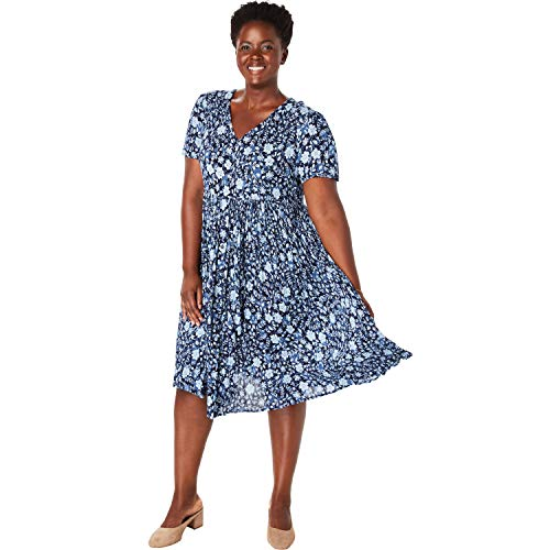 Woman Within Women's Plus Size Short Button-Front Crinkle Dress - Blue Overlay Floral, 14 W