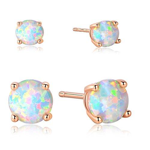 GEMSME 3mm/6mm Pack of 2 18K Rose Gold Plated Opal Stud EarringsFor Women
