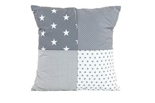 ULLENBOOM ® patchwork kussenhoes l 40×40 cm l ideaal als sierkussen voor de kinderkamer en babykamer I grijze sterretjes